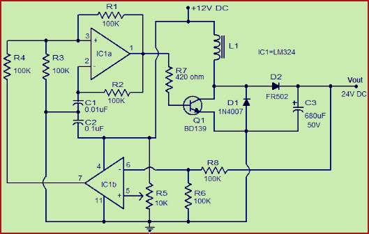 12v to 24v dc converter boost converter circuit design using lm324 rh elprocus com