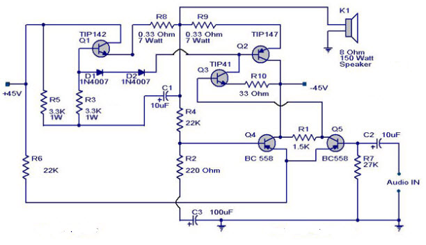 150 watt power amplifier circuit working and applications