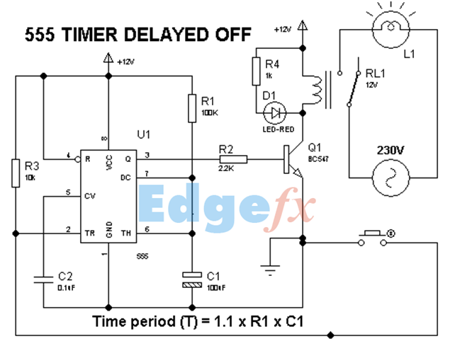 555 Timer Delay Off Circuit Diagram