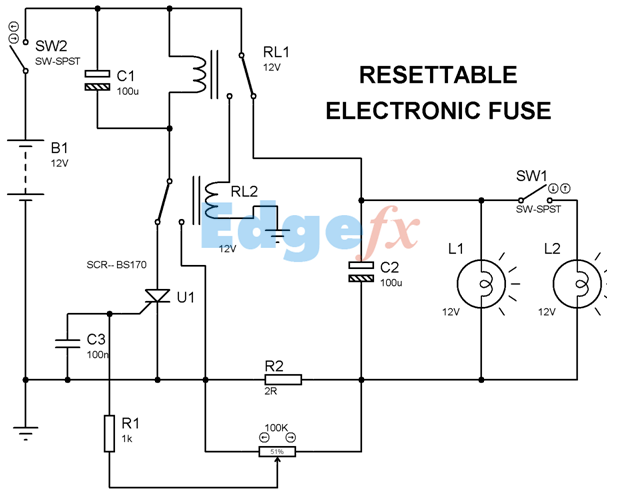 Resettable Electronic Fuse Circuit Diagram