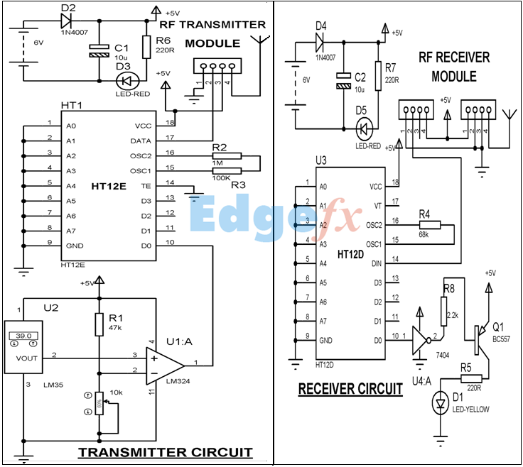 Wireless Over Temperature Alarm Circuit Diagram