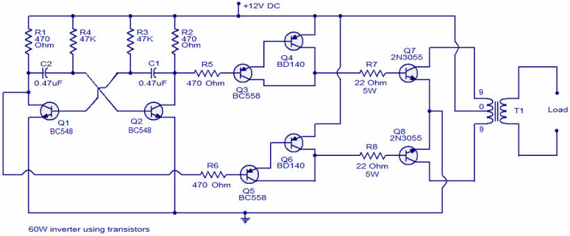 Home Inverters Selecting Good Efficiency Inverter - Circuit diagram of an inverter