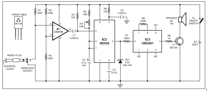 Anti-bag Snatching Alarm circuit using CA3140