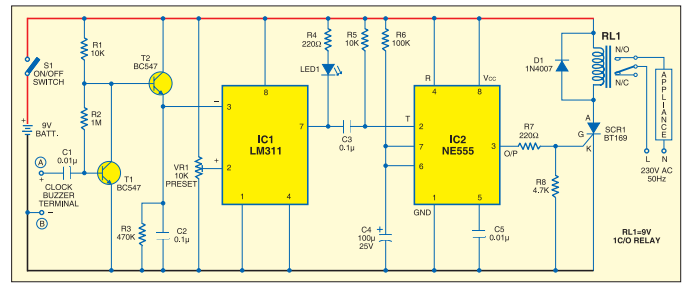 Clock Timer circuit using IC LM 311. Relay turns on when the set time in the clock arrives