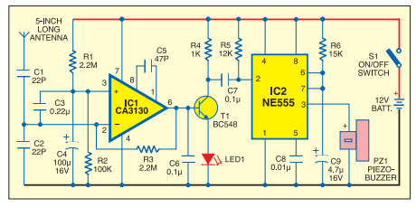 Mobile Bug Circuit using CA3130