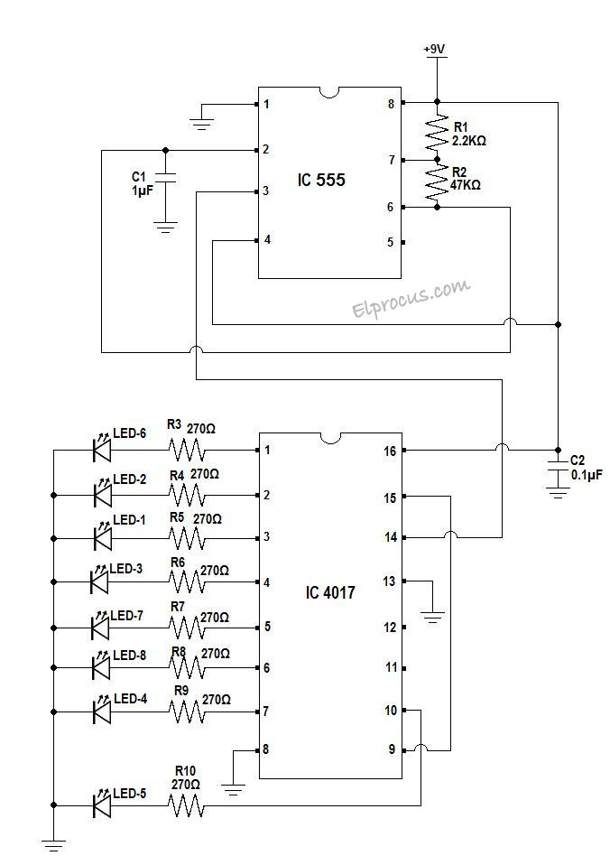 ic 4017 decade counter pin configuration of ic and applications 4017 wiring diagram at 4017 Wiring Diagram