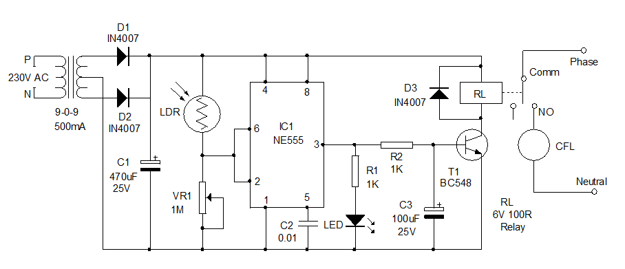 Auto switching light circuit diagram