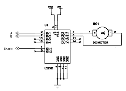 DC motor interfaced with L293D microcontroller