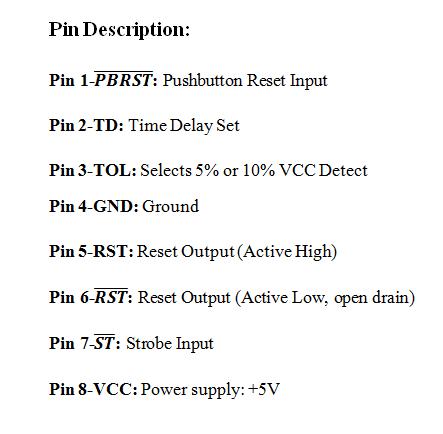 DS1232 Pin Description