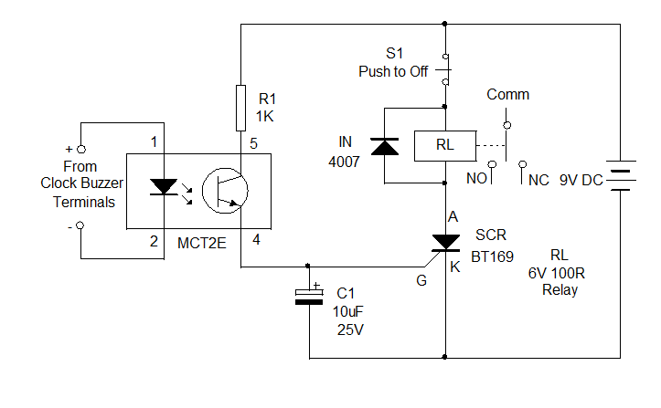 relay control using clock circuit diagram