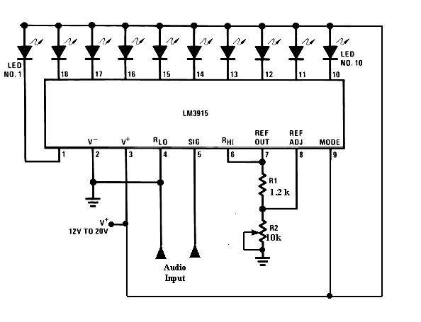 how does a lm3915 ic  visualized audio level display using lm3915