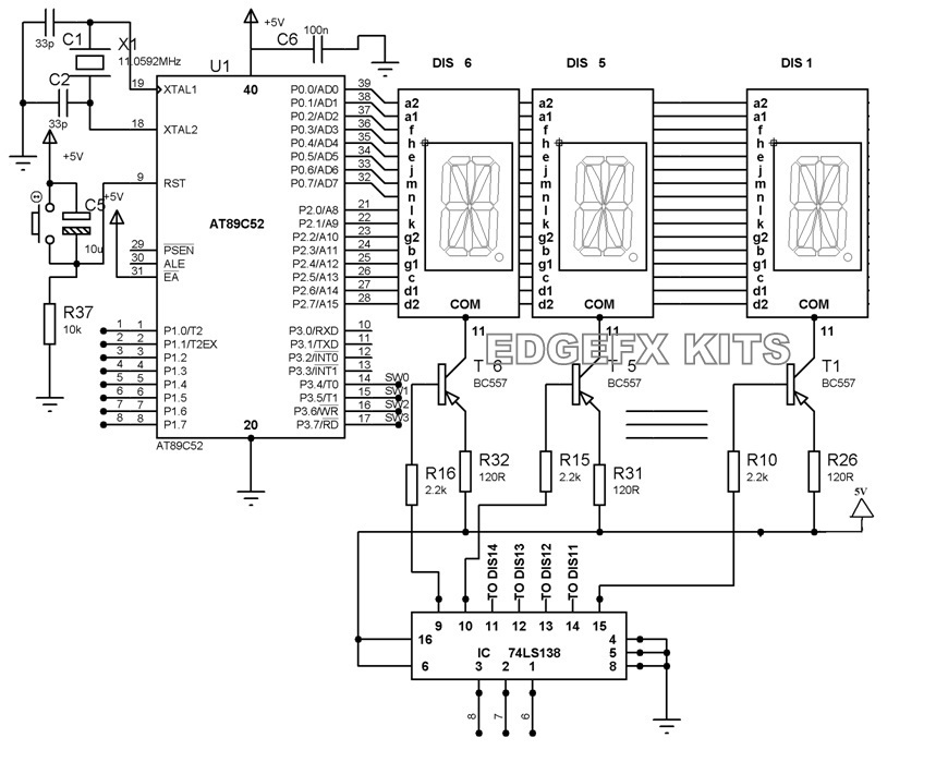 Alphanumeric Display Interfacing with AT89S51/52 Microcontrollers