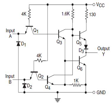 ttl transistor transistor logic families history and applications rh elprocus com ttl logic circuit diagram ttl output circuit diagram