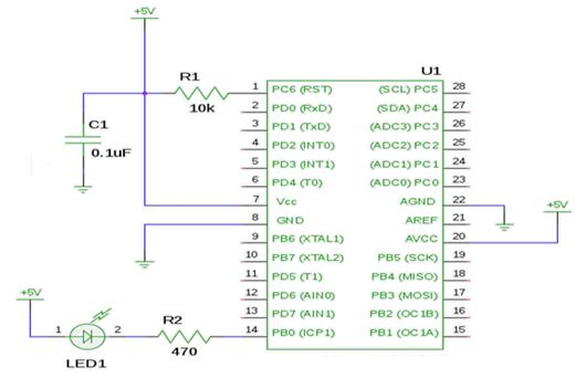 types of avr microcontrollers atmega32 & atmega8, their working audio amplifier circuit diagram applications involving atmega8 blinking led schematic