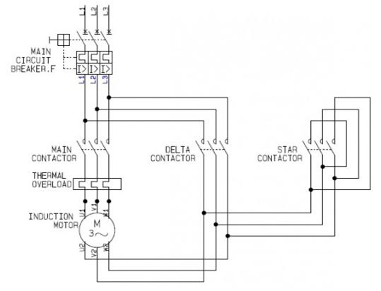 3 phase induction motor with help of industrial star delta starter rh elprocus com 3-phase motor starter circuit diagram 3-phase motor starter circuit diagram