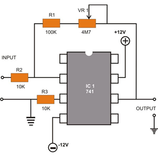 Pin Configuration of 741 Op-amp Diagram