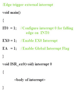 External Hardware Interrupt Programming