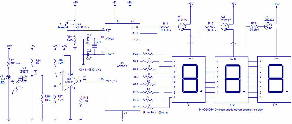 introduction to digital tachometer circuit working with 8051 and types rh elprocus com tach circuit diagram tachometer circuit diagram pdf