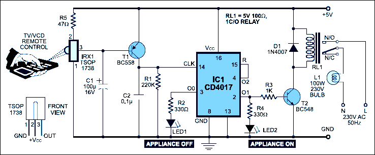 infrared remote control switch circuit working and its applications