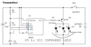IR Remote Controls transmitter Switch Circuit