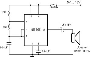 Buzzer Circuit Using 555 Timers