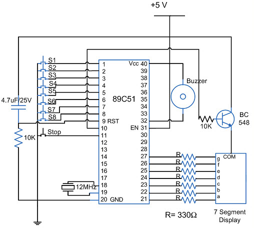 8 candidate quiz buzzer circuit using 8051 microcontroller rh elprocus com electronic quiz buzzer circuit diagram quiz buzzer schematic diagram