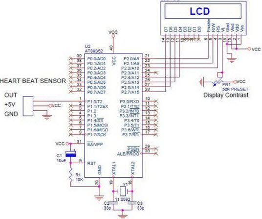 Heartbeat sensor circuit daigram working with 8051 circuit diagram of digital heartbeat monitor ccuart Image collections