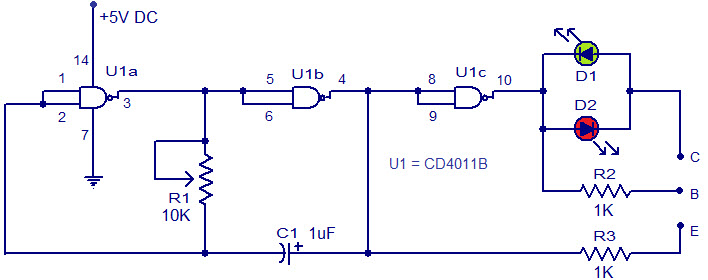 simple transistor tester circuit for bipolar transistors rh elprocus com Basic Electronic Projects Circuit Diagram Inverter Circuit Diagram