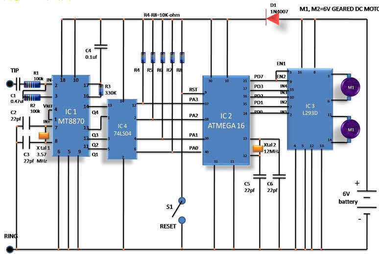 World news, world newspapers ,world news channels: Circuit Diagram of Cell  phone operated land rover Robotic Vehicle:World news, world newspapers ,world news channels - blogger