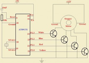 Stepper Motor Control Circuit using Transistor