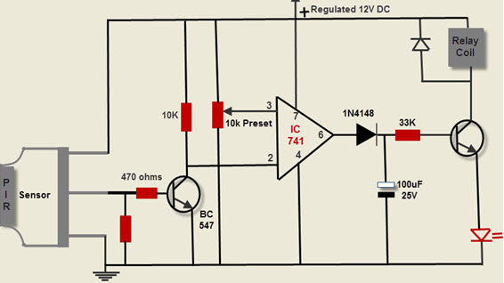 motion detection circuit using pir sensor