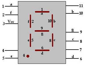 7 segment Display Pin Diagram