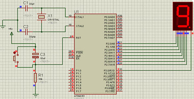 Interfacing 7-Segment Display Circuit Diagram