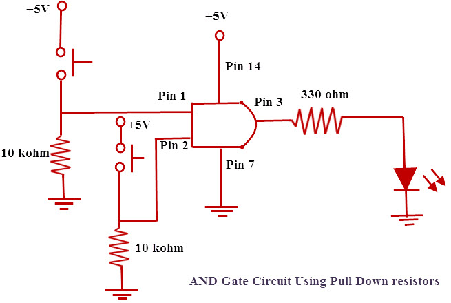 And Gate Circuit using Pull Down Resistor