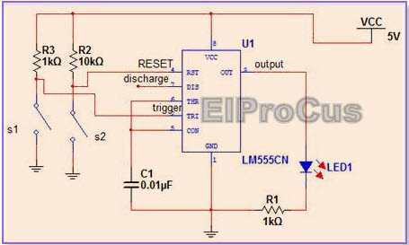 555 Timer IC in Bistable Mode or Schmitt Trigger