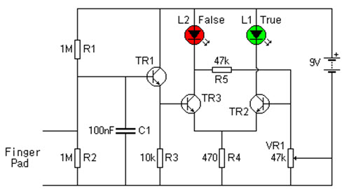 portable lie detector circuit and its working, circuit diagram