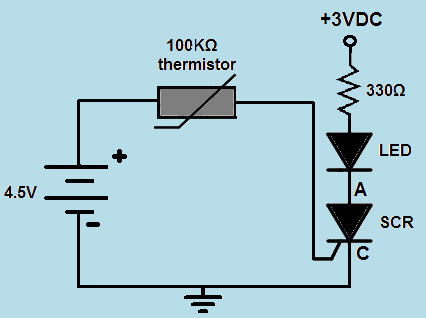 Heat Detector Circuit using SCR and LED