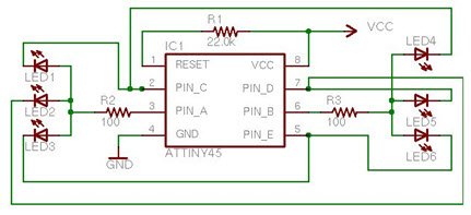 Programmable LED Firefly Jar Circuit Diagram