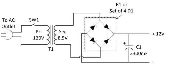 AC to DC Converter Using Bridge Rectifier