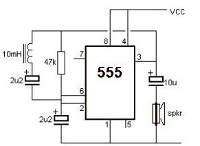 Metal Detector Circuit using 555 IC
