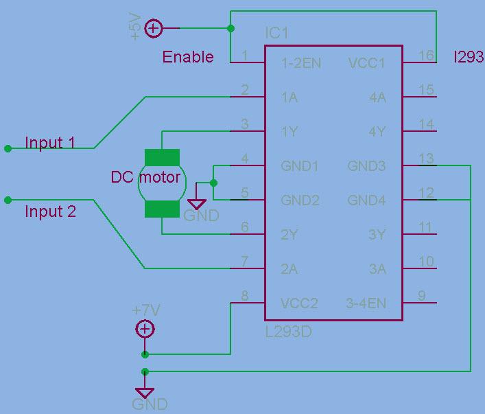 H-bridge Motor Circuit with L293D IC