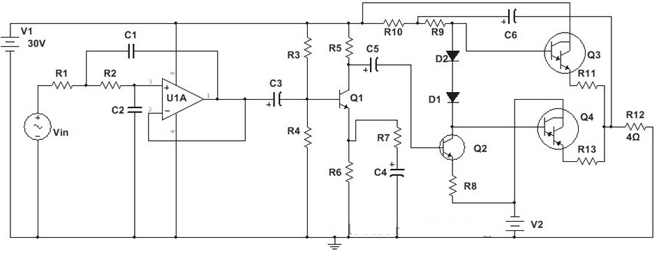 100w subwoofer amplifier circuit and applications rh elprocus com subwoofer circuit diagram download subwoofer circuit diagram 12v