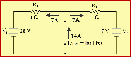 Current Through R1, R3, and Short Circuited Load