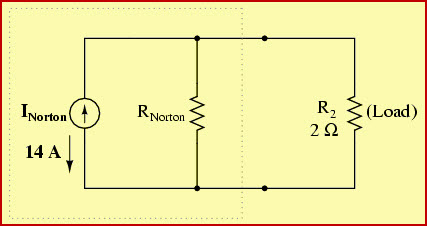 Nortons Equivalent Circuit with INorton, RNorton, RLoad