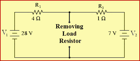 Nortons Theorem Example Circuit After Removing Load Resistor