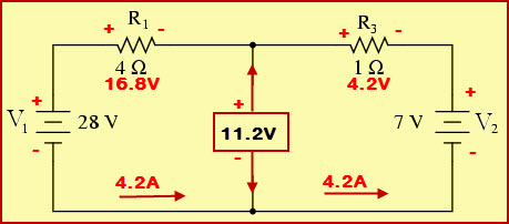 Thevenins Equivalent Circuit with Thevenins Voltage Across Open Load Resistance Terminals