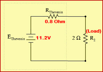 Thevenins Equivalent Circuit with Vth, Rth and RLoad Values