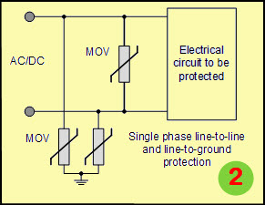 Varistor Circuit for Single Phase Line to Line and Line to Ground Protection