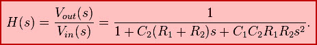 Transfer Function of the second order Sallen-Key circuit