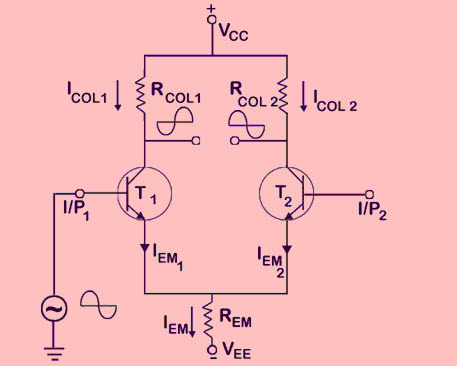Working of Differential Amplifier Circuit using BJTs
